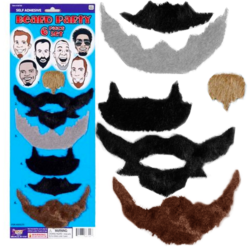 Gag Gifts - Beard Party - 6 Beard Pack