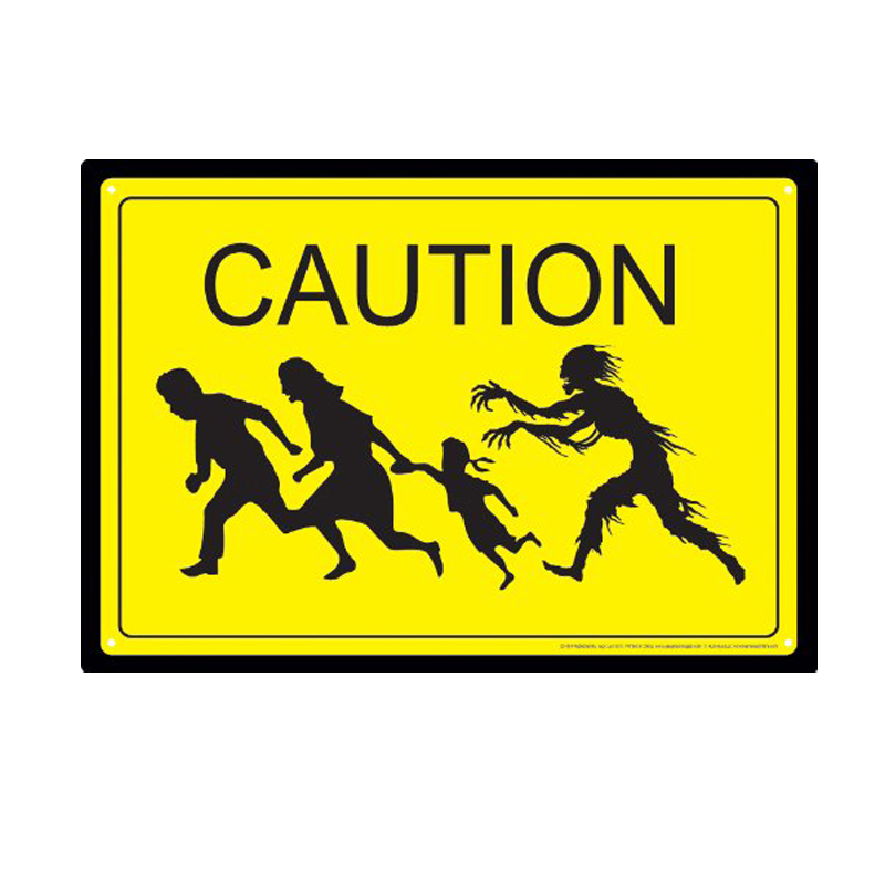 Gag Gifts - Caution Zombies Tin Sign