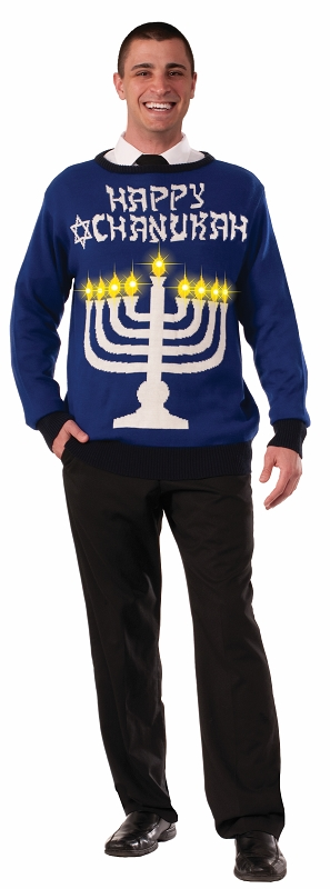 Gag Gifts - Chanukah Light Up Menorah Ugly Sweater