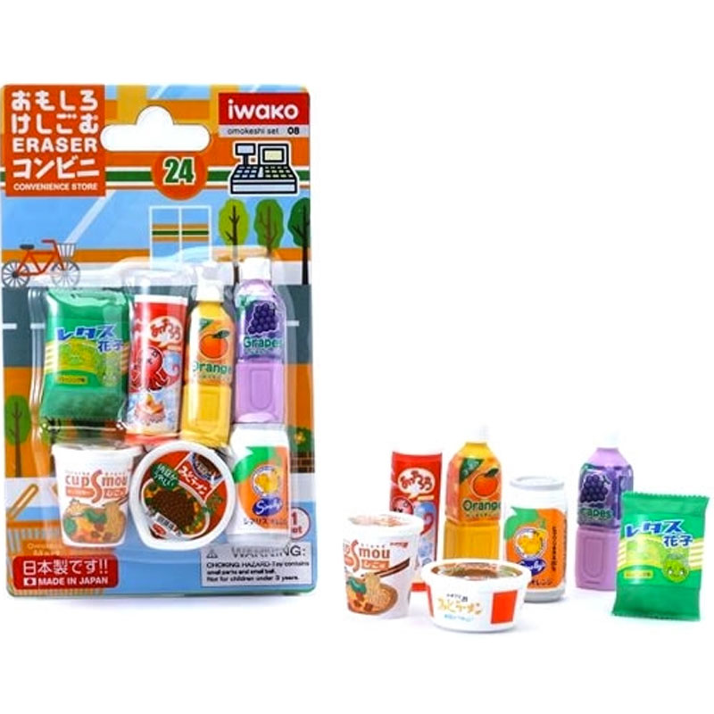 Gag Gifts - Convenient Store Erasers: Drinks and Snacks