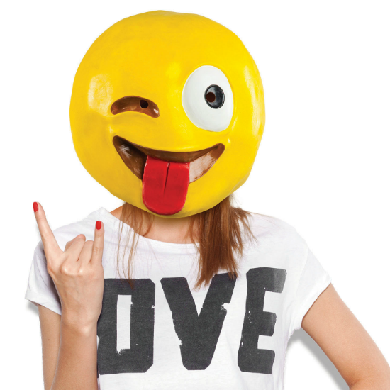 Gag Gifts - Crazy Wink with Tongue Emoji Mask