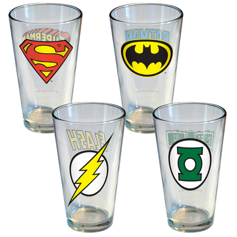Gag Gifts - DC Comics Insignia Pint Glasses (4 Pack)