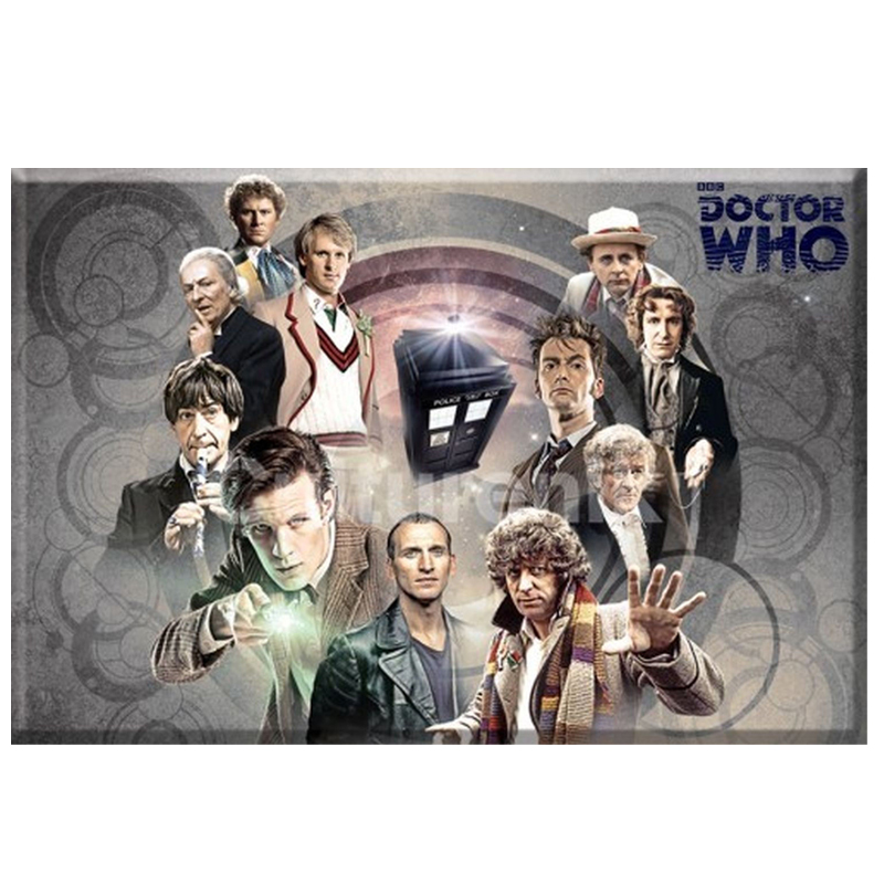 Gag Gifts - Doctor Who Magnet: Collage of all Doctors, Gray