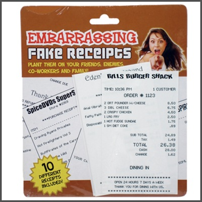 Gag Gifts - Embarrassing Fake Receipts