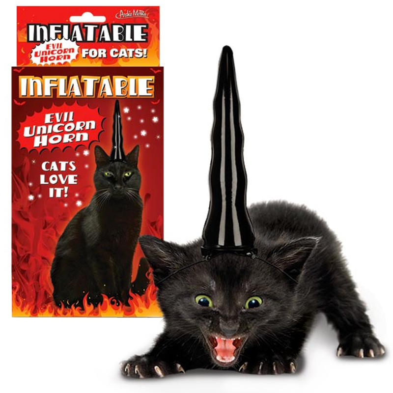 Gag Gifts - Inflatable Unicorn Horn for Evil Cats
