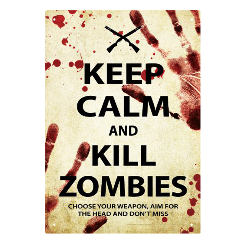 Gag Gifts - Keep Calm Zombies Tin Sign