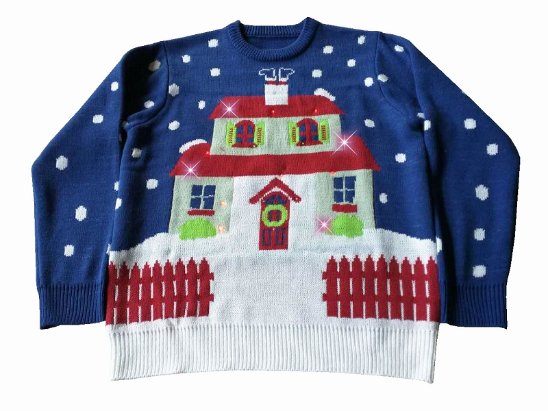 Gag Gifts - Light Up, Ugly Christmas Sweater: House With Too Many Lights