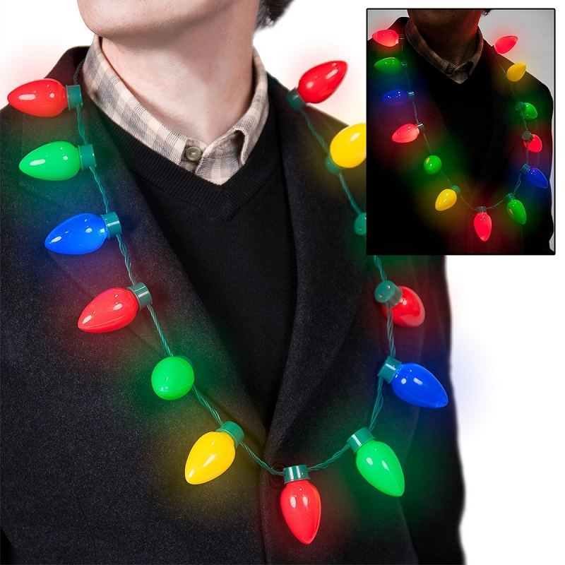 Gag Gifts - Light Up Christmas Bulb Necklace
