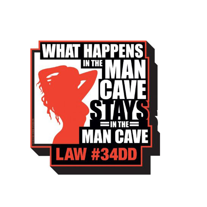 Gag Gifts - Man Cave - What Happens Magnet