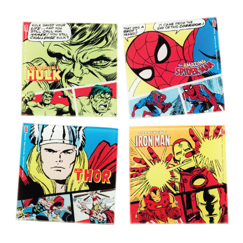 Gag Gifts - Marvel Comics 4 pc. Glass Coaster Set