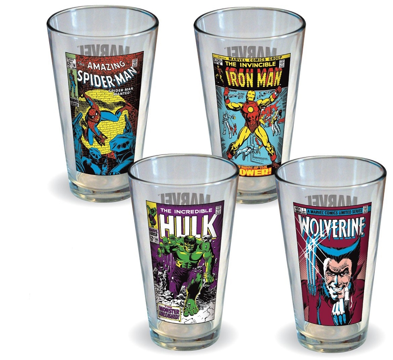 Gag Gifts - Marvel Comics Classic Covers Glass Set (4 Pack)