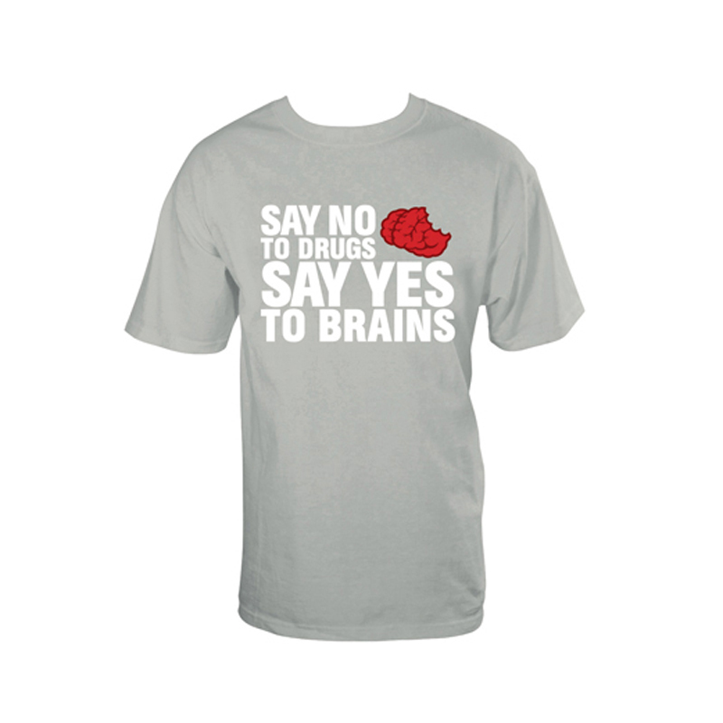 Gag Gifts - No Drugs, Yes Brains T-Shirt, Gray