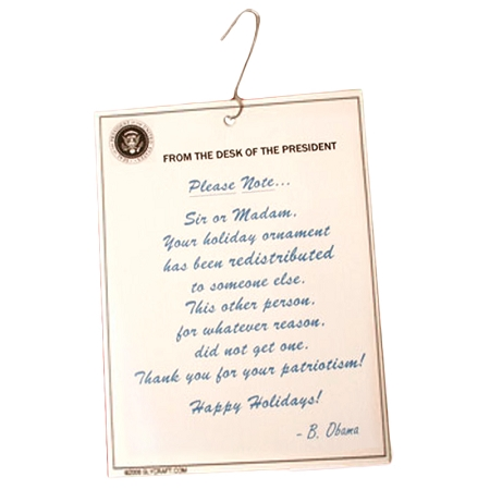 Gag Gifts - Obama Wealth Redistribution Ornament