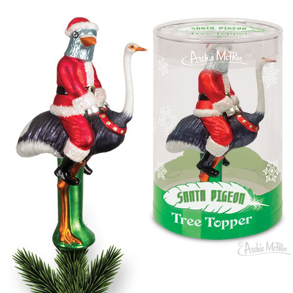 Gag Gifts - Santa Pigeon Tree Topper