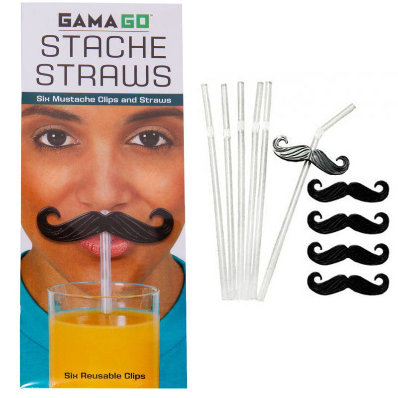 Gag Gifts - Stache Straws - Mustache Straw Clips