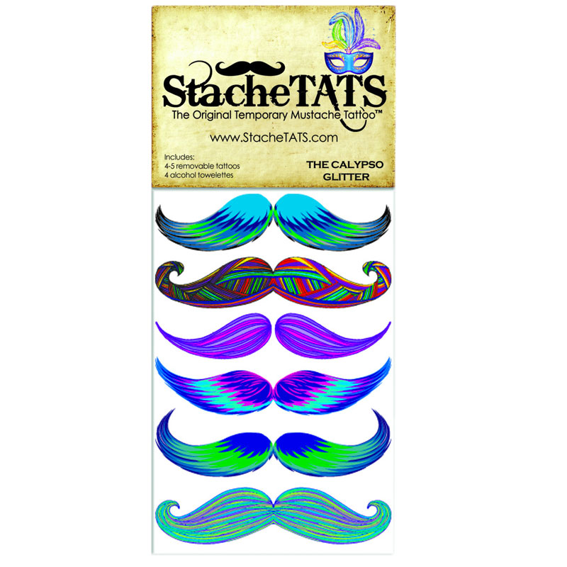 Gag Gifts - Stache Tats: Calypso Glitter Temporary Mustache Tattoos