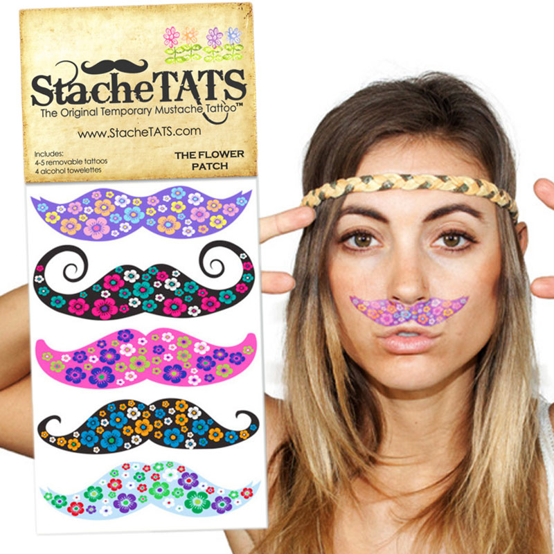 Gag Gifts - Stache Tats: Flower Patch Temporary Mustache Tattoos