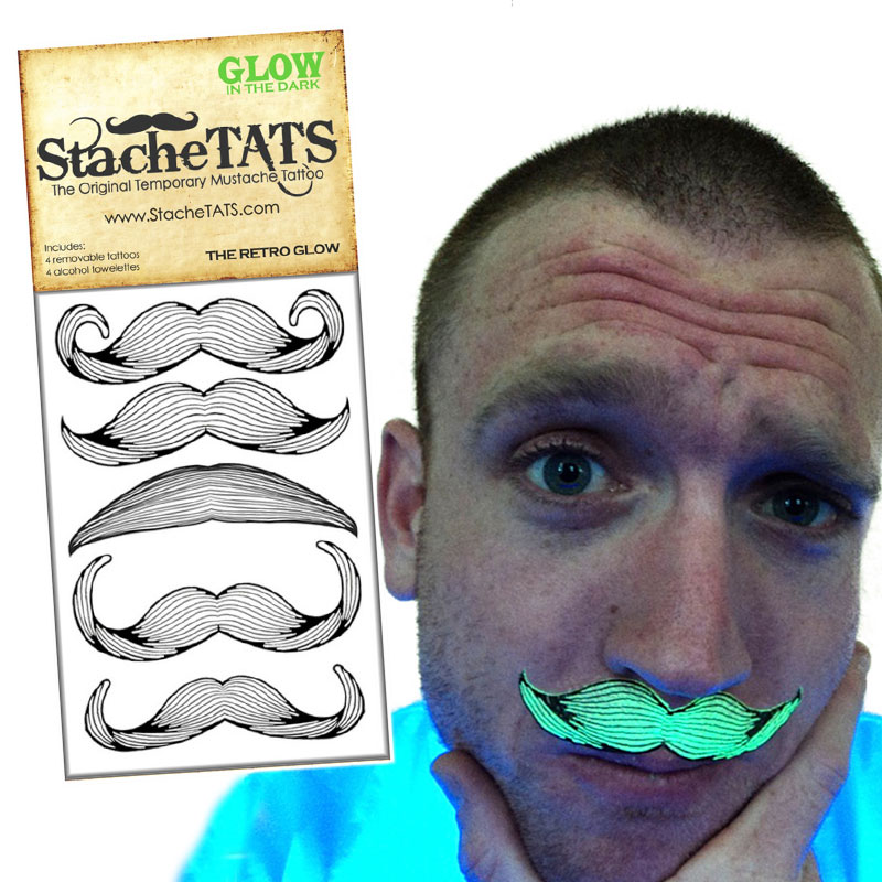 Gag Gifts - Stache Tats: Glow in the Dark Mustache Tattoos, Retro Style