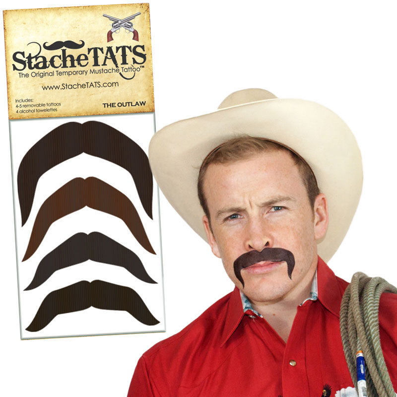Gag Gifts - Stache Tats: Outlaw Temporary Mustache Tattoos