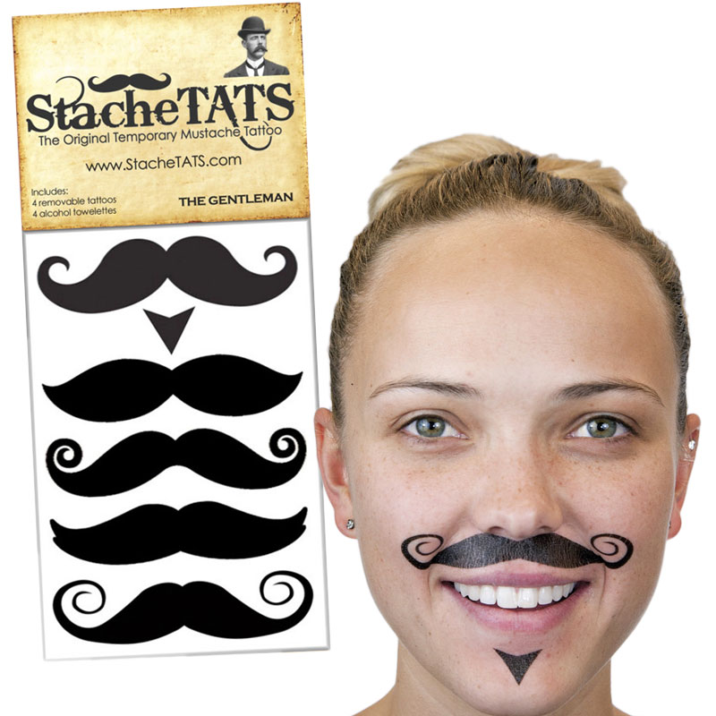 Gag Gifts - Stache Tats: The Gentleman Temporary Mustache Tattoos