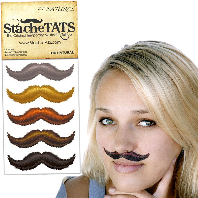 Gag Gifts - Stache Tats: The Natural Temporary Mustache Tattoos
