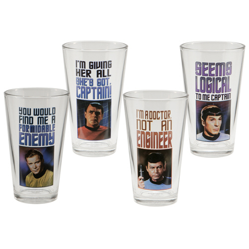 Gag Gifts - Star Trek 4 pc. 16 oz. Glass Set