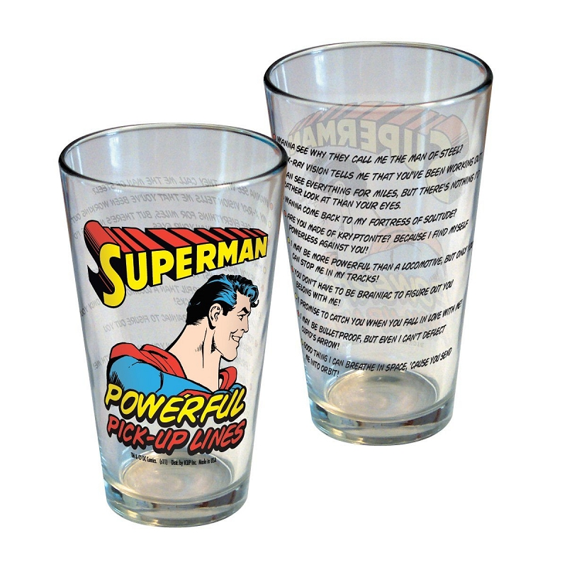 Gag Gifts - Superman Powerful Pick-Up Lines Glass