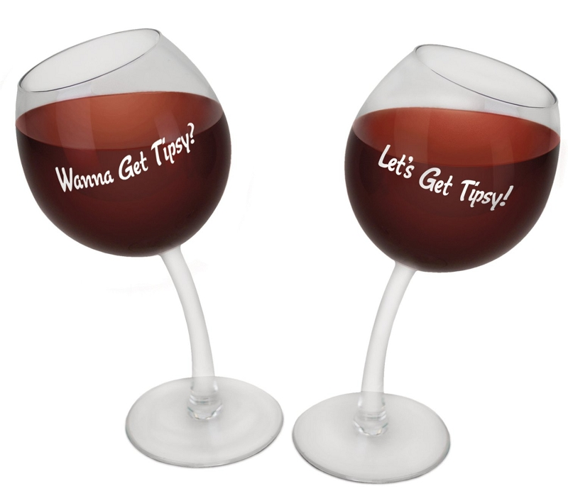 Gag Gifts - Tipsy Wine Glasses