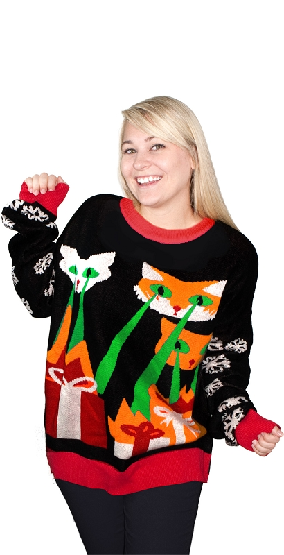 Gag Gifts - Ugly Christmas Sweater: Laser Cat-Zillas