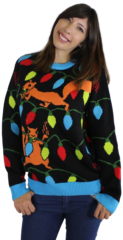 Gag Gifts - Ugly Christmas Sweater: Squirrelly Christmas Lights